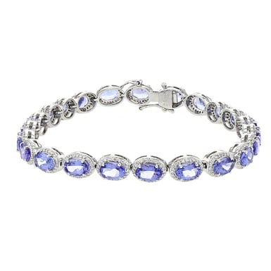 DIAMOND HALO TANZANITE BRACELET, 18K WHITE GOLD