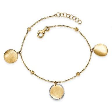 14K Yellow and White Gold Circle Drop Bracelet