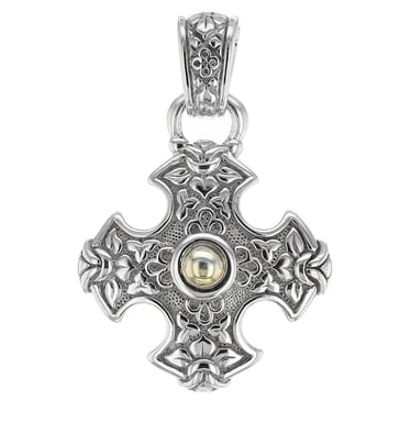*ESTATE Scott Kay Cross Pendant, Sterling Silver and 18K Yellow Gold