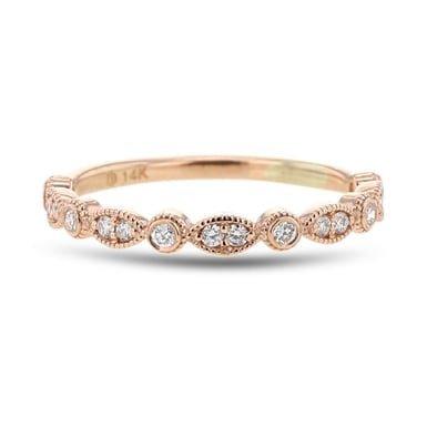 Diamond Milgrain Stacking Ring, 14K Rose Gold, .20TCW