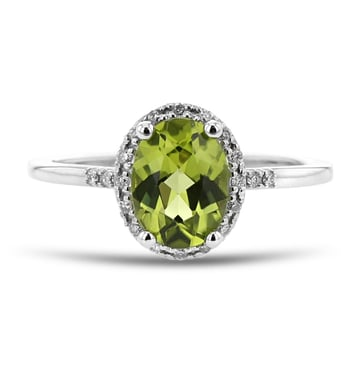 Peridot and Diamond Halo Ring, Oval, 14K White Gold, .09TDW