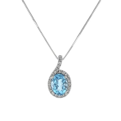 Blue Topaz and Diamond Halo Pendant Necklace, Oval, 14K White Gold, .12TDW