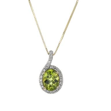 Peridot and Diamond Halo Pendant Necklace, Oval, 14K Yellow Gold, .12TDW