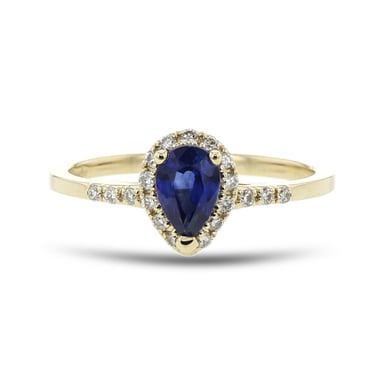 Blue Sapphire and Diamond Halo Ring, Pear, 14K Yellow Gold, .13TDW