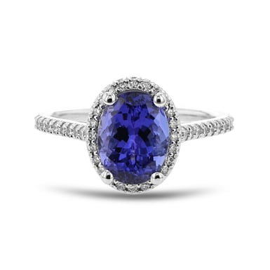 Tanzanite and Diamond Halo Ring, Oval, 14K White Gold, .30TDW
