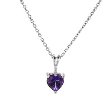 Amethyst and Diamond Accent Pendant Necklace, Heart, 14K White Gold, .01TDW