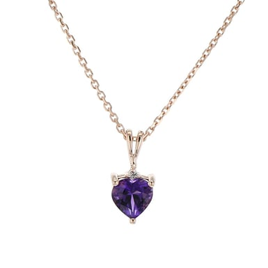 Amethyst and Diamond Accent Pendant Necklace, Heart, 14K Rose Gold, .01TDW