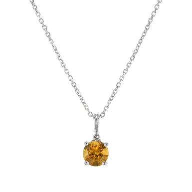 Citrine and Diamond Accent Pendant Necklace, Round, 14K White Gold, .02TDW