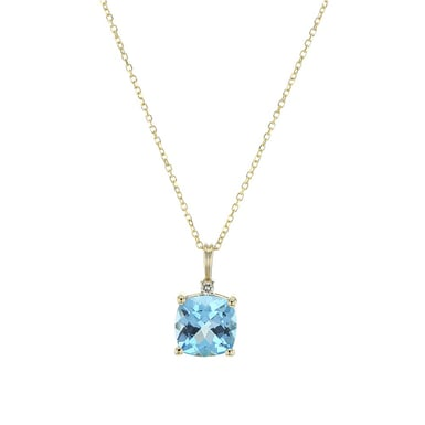 14K Yellow Gold Blue Topaz Pendant Necklace with Diamond Accent