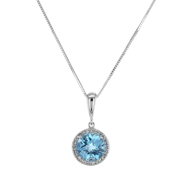 Blue Topaz and Diamond Halo Pendant Necklace, Round, 14K White Gold, .08TDW