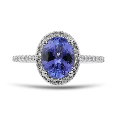 Tanzanite and Diamond Halo Ring, Oval, 14K White Gold, .35TDW