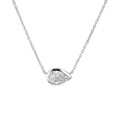 Diamond Solitaire Pendant Necklace, Pear, 14K White Gold, .92CT