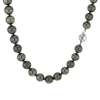 Tahitian Pearl Strand Necklace, 9.0-11.3MM, 18K White Gold, 18 Inch
