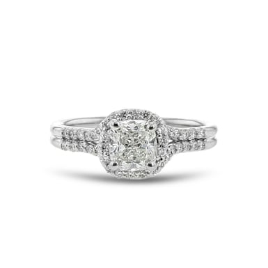 Diamond Halo Engagement Ring, Cushion, 14K White Gold .90CT, .23TDW