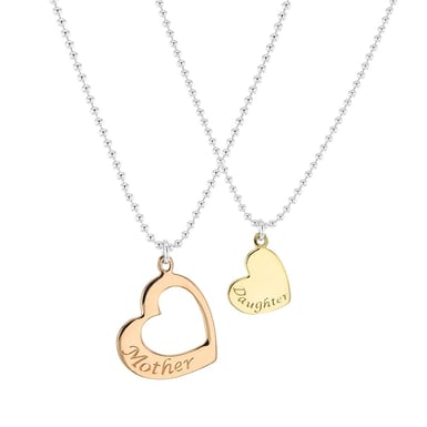 Mother and Daughter Heart Pendant Necklace Set, Gold Plated Sterling Silver