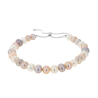 Freshwater Cultured Pearl Multicolor Bolo Bracelet, Sterling Silver