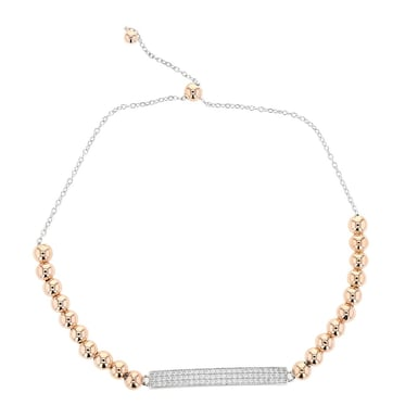 Beaded Cubic Zirconia Bar Bolo Bracelet, Rose Gold Plated Silver