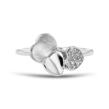 Diamond Triple Hearts Ring, Sterling Silver, .06TDW