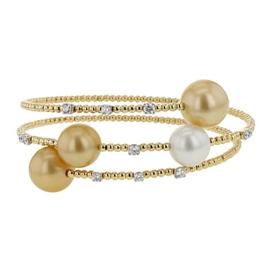 South Sea Pearl and Diamond Wrap Bracelet, White and Gold Pearls, 18K Yellow Gold, .65TDW