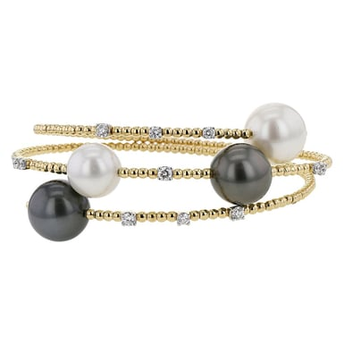 South Sea, Tahitian Pearl and Diamond Wrap Bracelet, 18K Yellow Gold, .67TDW