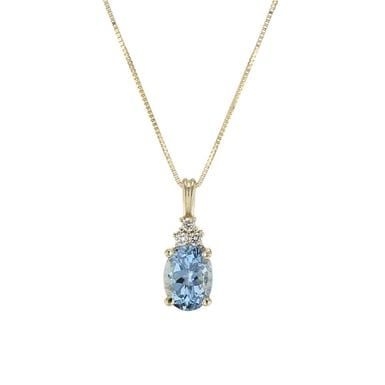 Aquamarine and Diamond Accent Pendant Necklace, Oval, 14K Yellow Gold, .05TDW