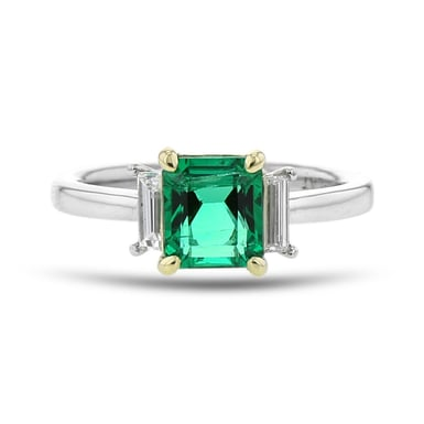 Emerald and Diamond Side Stone Ring, Asscher, 18K Gold, 1.32CT, .21TDW