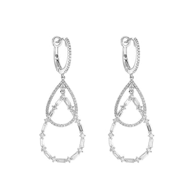 Diamond Double Teardrop Dangle Earrings, 14K White Gold, 1.22TDW