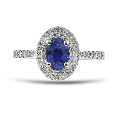 Blue Sapphire and Diamond Double Halo Ring, Oval, 14K White Gold, .40TDW