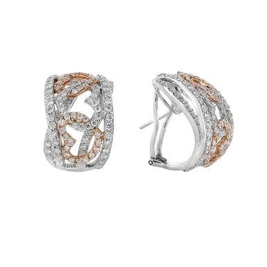 Diamond Hearts Huggie Hoop Earrings, 18K Gold, 3.44TDW