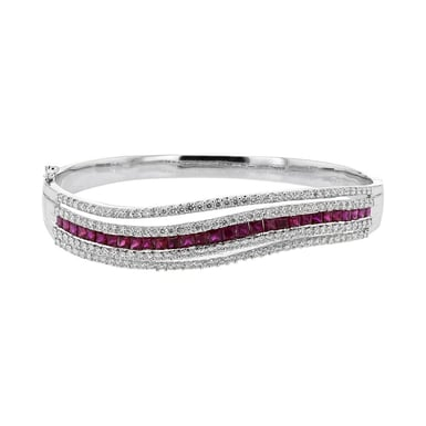 Ruby and Diamond Wave Bangle Bracelet, 18K White Gold, 1.96TDW