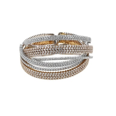 Diamond Pavé Swirling Rows Open Cuff Bracelet, 18K Gold, 18.77TDW
