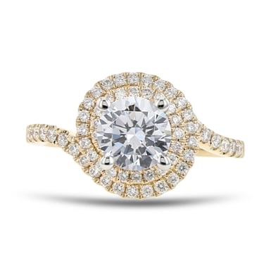 Diamond Double Halo Swirl Engagement Ring Setting, 14K Yellow Gold, .34TDW