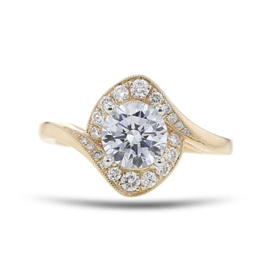 Diamond Halo Engagement Ring Setting, Bypass Milgrain, 14K Yellow Gold, .25TDW