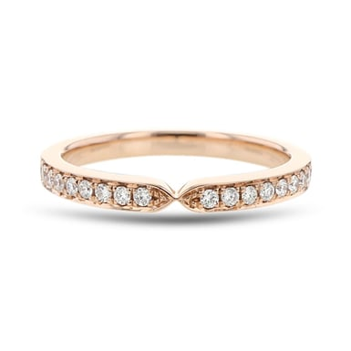 Diamond Accent Notch Band, 14K Rose Gold, .19TDW