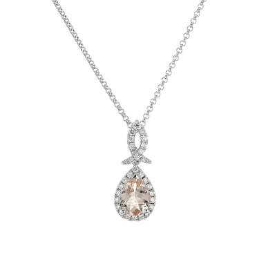 Pink Morganite and Diamond Halo Pendant Necklace, Pear, 14K White Gold, .17TDW