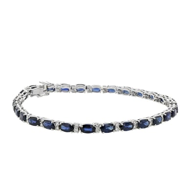 Blue Sapphire and Diamond Tennis Bracelet, Oval, 18K White Gold, 8.61CT, .64TDW