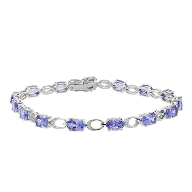Tanzanite and Diamond Tennis Bracelet, Oval, 18K white Gold, 8.20CT, .18TDW