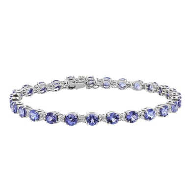 Tanzanite and Diamond Tennis Bracelet, Round, 18K white Gold, 8.02CT, .74TDW