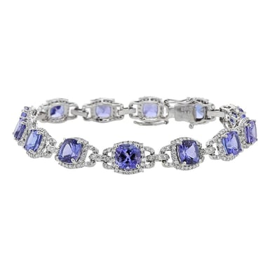 Tanzanite and Diamond Halo Tennis Bracelet, Cushion, 18K white Gold, 13.64CT, 2.30TDW