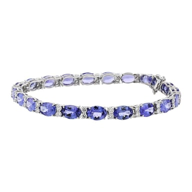Tanzanite and Diamond Tennis Bracelet, Oval, 18K white Gold, 15.66CT, .1.21TDW
