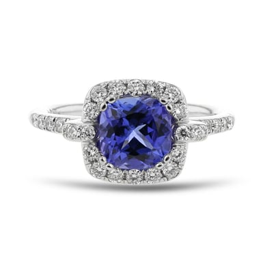 Tanzanite and Diamond Halo Ring, Round, 14K White Gold, .44TDW