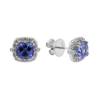 Tanzanite and Diamond Halo Stud Earrings, Cushion, 14K White Gold, .40TDW