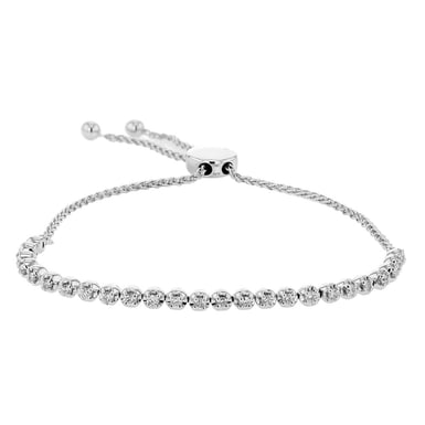 Diamond Bubble Bolo Bracelet, 14K White Gold, .52TDW