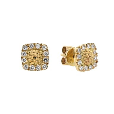 Diamond Halo Stud Earrings, Square, 14K Yellow Gold, .25TDW