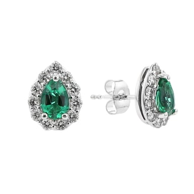 Emerald and Diamond Halo Earrings, Pear, 14K White Gold, .50TDW