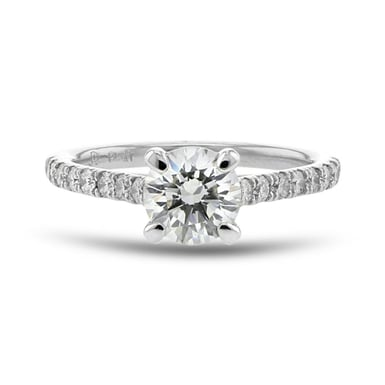 Diamond Accent Engagement Ring, Round, Platinum, 1.01CT, .34TDW