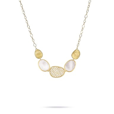 "Marco Bicego ""Lunaria"" Mother of Pearl and Diamond Graduated Necklace, 18K Yellow Gold, .53TDW"
