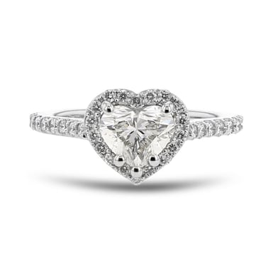 Diamond Halo Engagement Ring, Heart, Platinum, 1.04CT, .40TDW