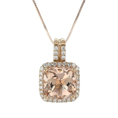 Pink Morganite and Diamond Halo Pendant Necklace, 14K Rose Gold, .32TDW
