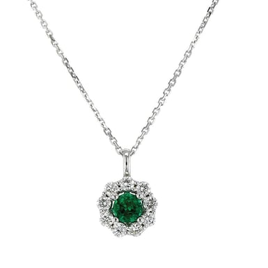 Emerald and Diamond Halo Pendant Necklace, 18K White Gold, 5mm Round Emerald, .43 Round Diamonds